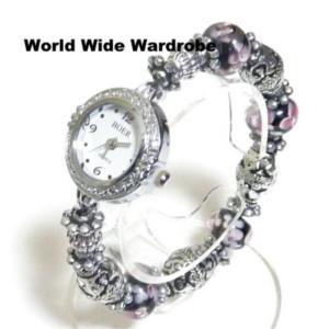 オリジナル手作りトンボ玉エスニック腕時計